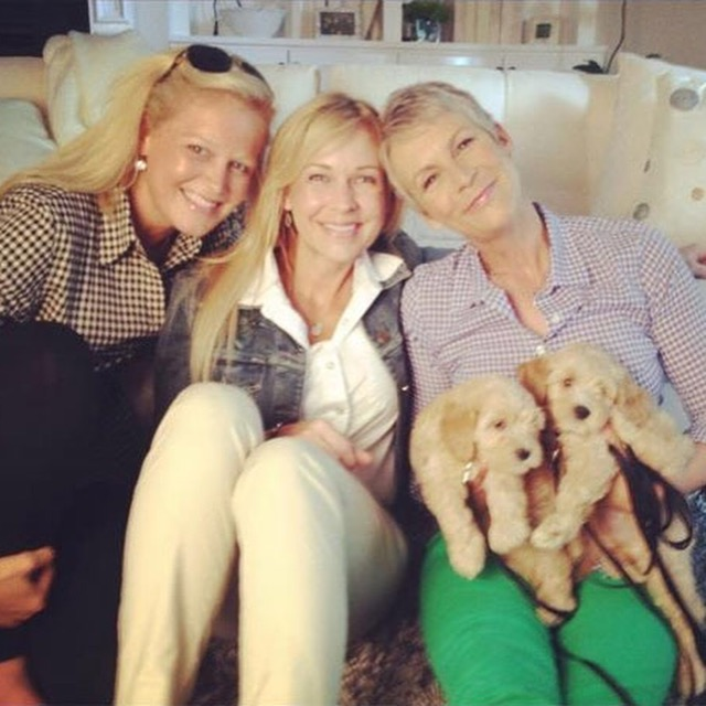 Brandi Shurtz-Huffmaster (pictured center with Jamie Lee Curtis) is the owner/breeder of Sutter Buttes Labradoodles. Brandi and her husband Scott reside with their four children in Yuba City.